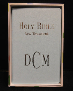 blue bible with monogramming