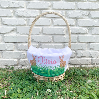 PERSONALIZED BUNNY BASKET LINER WITH BASKET
