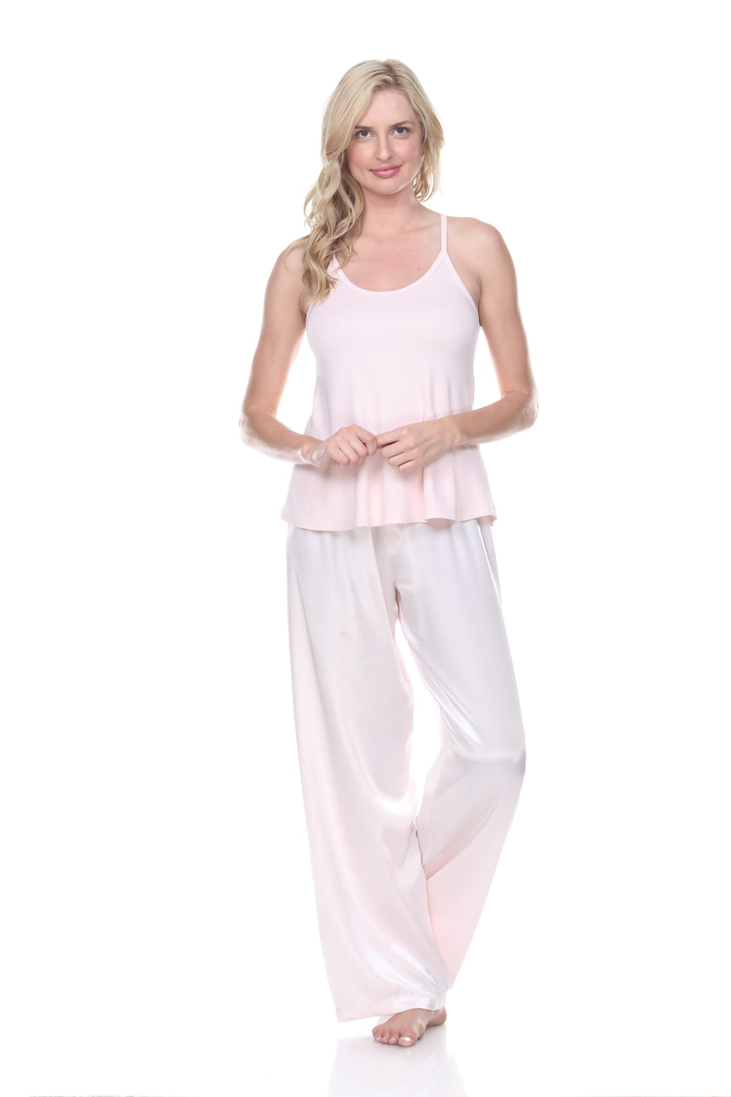 RIBBED SPAGHETTI TANK PAJAMA TOP BLUSH