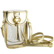 CELL PHONE CLEAR CROSSBODY PURSE GOLD