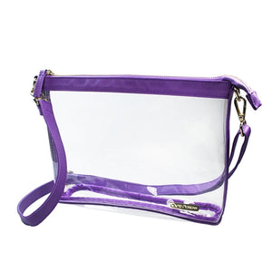 LARGE CROSSBODY CLEAR PURSE PURPLE