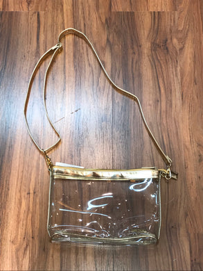 LARGE CROSSBODY CLEAR PURSE GOLD