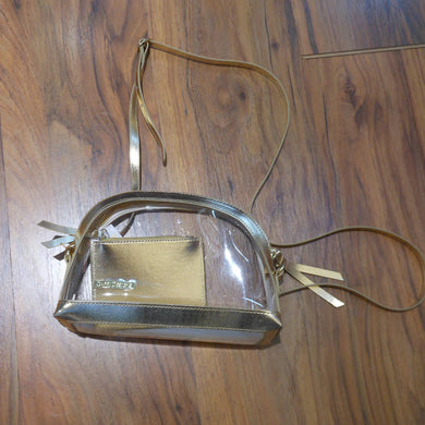 HALF MOON GOLD CLEAR PURSE