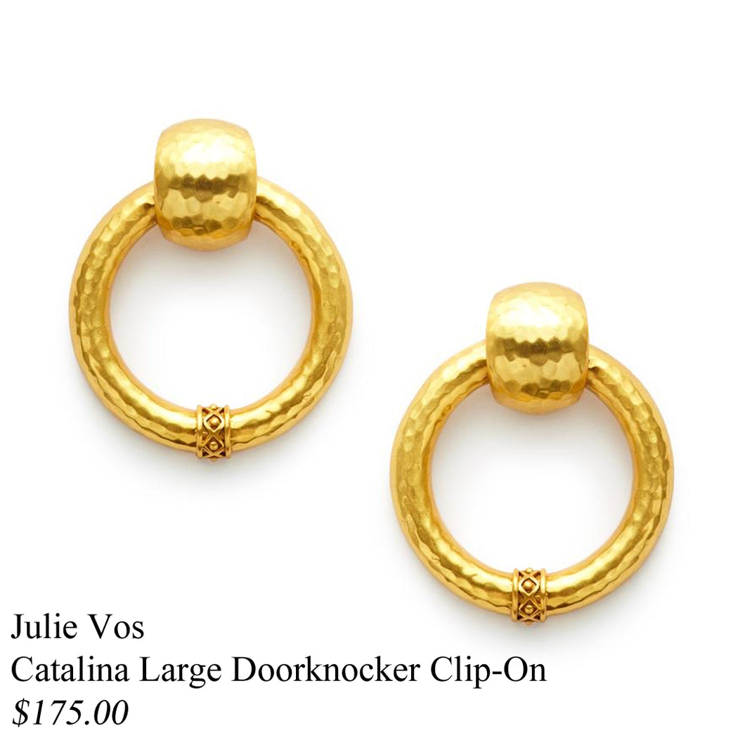 CATALINA GOLD DOORKNOCKER CLIP ON EARRINGS