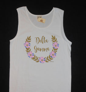 DELTA GAMMA FLOWER WREATH TANK