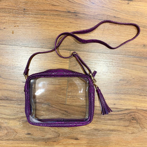 DARK PURPLE SNAKE RECTANGLE CLEAR PURSE