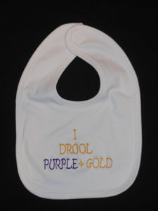I DROOL PURPLE AND GOLD BABY BIB