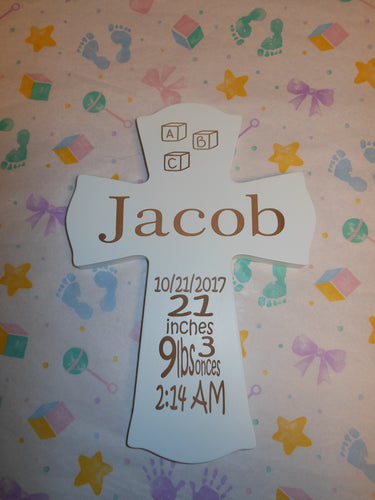 PERSONALIZED BLUE BABY CROSS