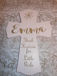PERSONALIZED PINK BABY CROSS
