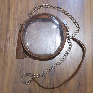 ROUND CLEAR PURSE BROWN