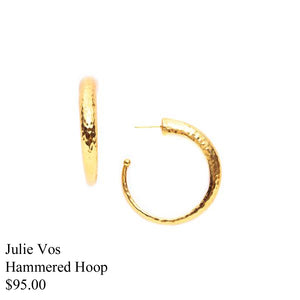 HAMMERED GOLD HOOP EARRING MEDIUM