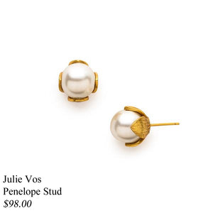 PENELOPE GOLD PEARL STUD EARRINGS