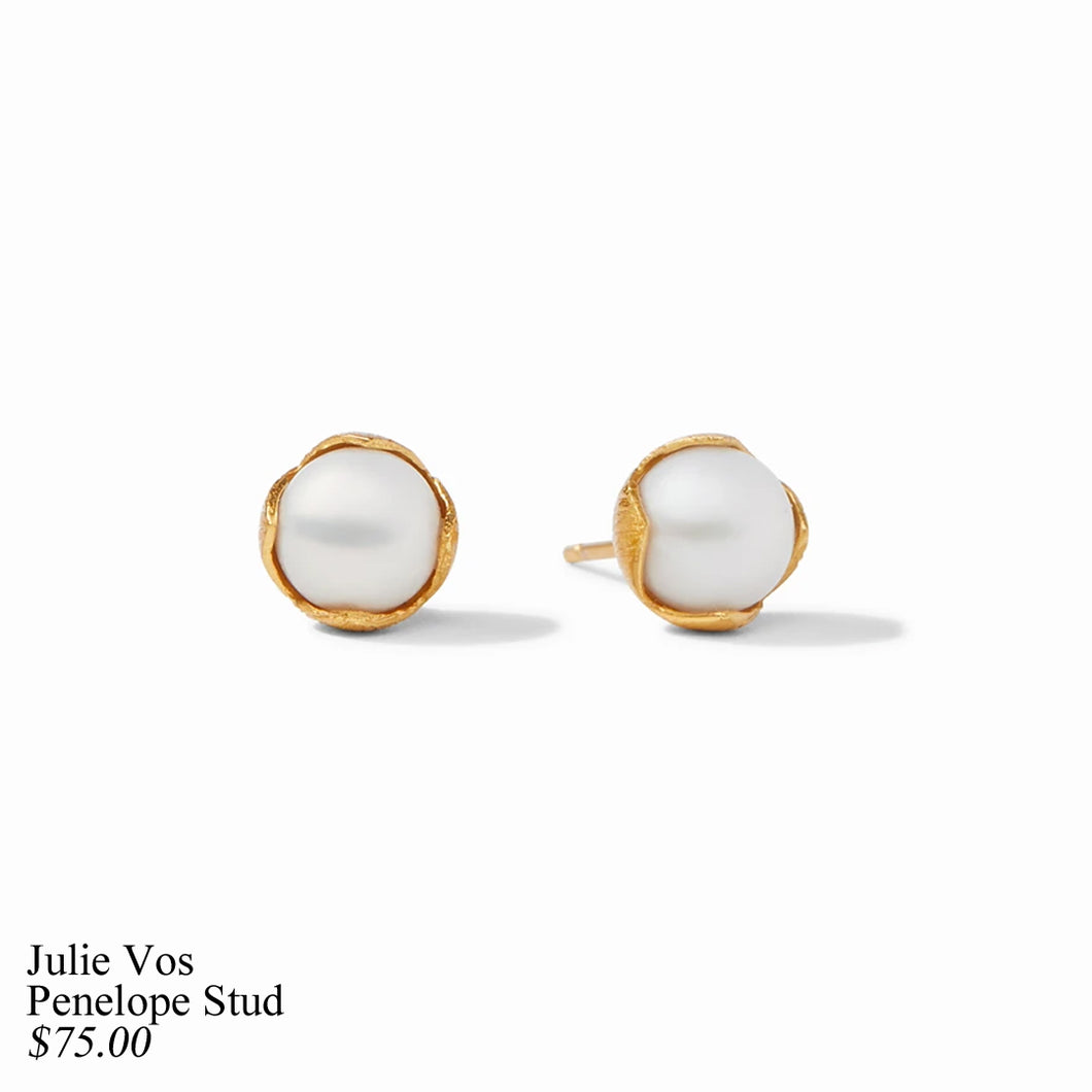 PENELOPE PETITE GOLD PEARL STUD EARRINGS