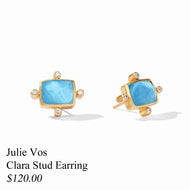 CLARA STUD EARRING GOLD PACIFIC BLUE