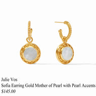 SOFIA EARRING GOLD MOTHER OF PEARL WITH PEARL ACCENT