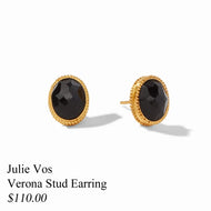 VERONA STUD EARRING GOLD BLACK ONYX