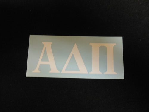 ALPHA DELTA PI WHITE DECAL LETTERS