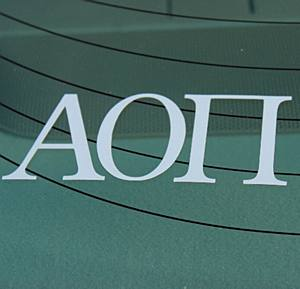 ALPHA OMICRON PI WHITE DECAL LETTERS