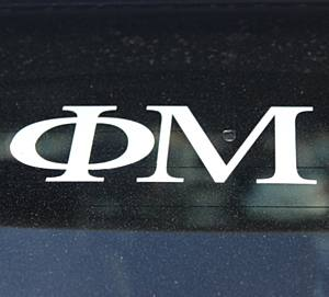 PHI MU WHITE DECAL LETTERS
