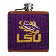 LOUISIANA STATE UNIVERSITY NEEDLEPOINT FLASK