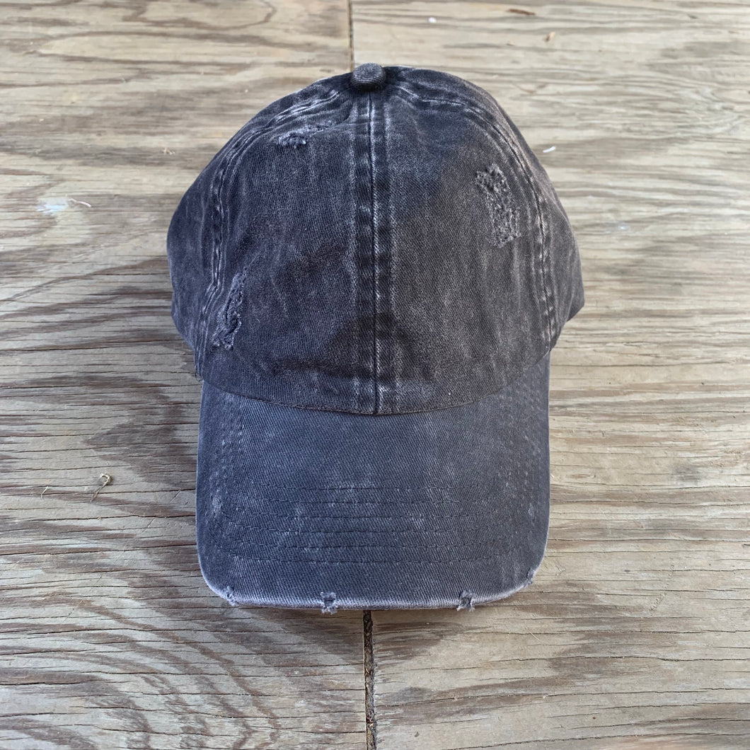 DISTRESSED BASEBALL CAP BLACK