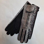 GREY PYTHON PRINT TOUCH SCREEN GLOVES