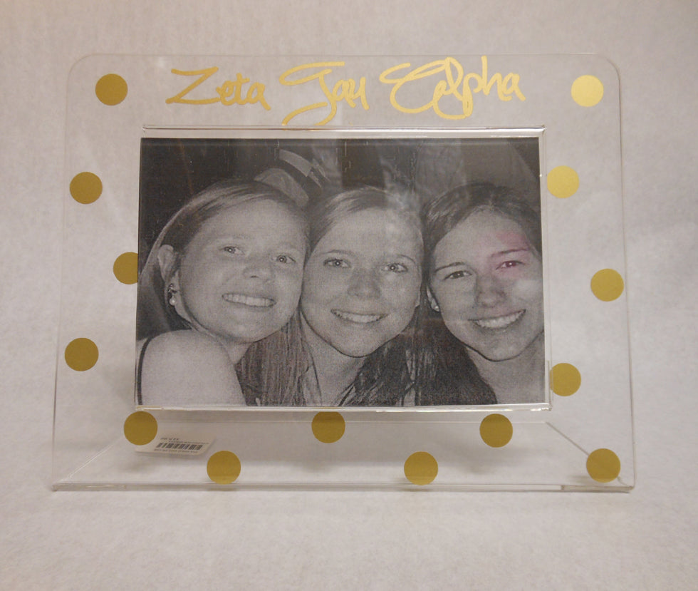 ZETA TAU ALPHA GOLD DOT FRAME