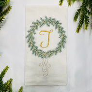 GOLD INITIAL WREATH HAND TOWEL