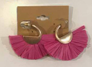 RAFFIA EARRINGS PINK