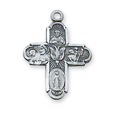 STERLING SILVER 4 WAY CROSS PENDANT WITH CHAIN