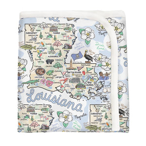 LOUISIANA MAP BABY BLANKET