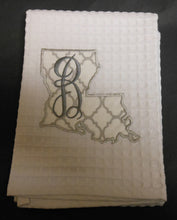 white Louisiana hand towel embroidered with the letter B