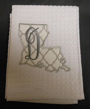 white Louisiana hand towel embroidered with the letter D