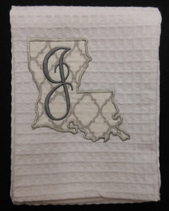 white Louisiana hand towel embroidered with the letter J