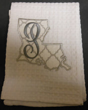 white Louisiana hand towel embroidered with the letter P