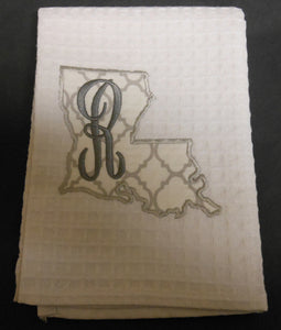 white Louisiana hand towel embroidered with the letter R