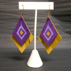 PURPLE AND YELLOW LEATHER EARRINGS