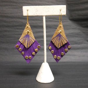PURPLE AND GOLD LEATHER STUDDED  EARRINGS