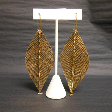 GOLD LEATHER FEATHER EARRINGS