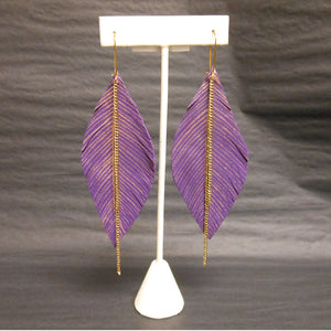 PURPLE LEATHER FEATHER  EARRINGS