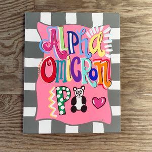 ALPHA OMICRON PI LARGE PAINTED CANVAS