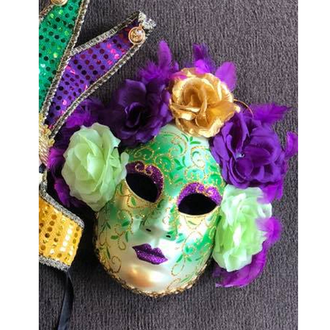 FULL MARDI GRAS MASK WITH FLOWERS