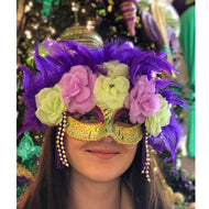 HALF MARDI GRAS MASK WITH FLOWERS