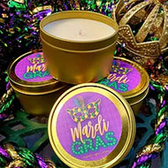 8 OZ MARDI GRAS TRAVEL TIN CANDLE
