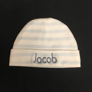 PERSONALIZED BLUE STRIPE BABY CAP