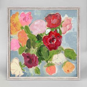ROSES ON BLUE 6X6 CANVAS WALL ART