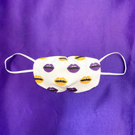 NON MEDICAL FASHION FACE MASK STYLE 1 PURPLE & GOLD LIPS