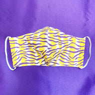 NON MEDICAL FASHION FACE MASK STYLE 2 PURPLE & GOLD TIGER STRIPE