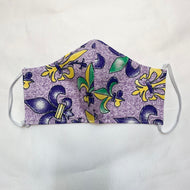 NON MEDICAL FACE MASK STYLE 2 PURPLE MARDI GRAS FLEUR DE LIS