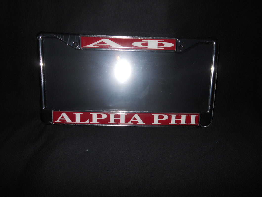 ALPHA PHI LICENSE PLATE FRAME
